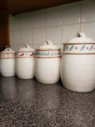 Set Of 4 Vintage Treasure Craft Taos Kitchen Canisters W/ Lids Made In Usa