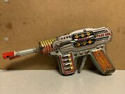Vintage Space Gun Tin Japan 2 Barrel Space Ray Astronaut Cosmo Works