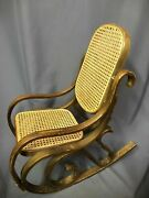 Vintage Thonet Styled Bentwood Childrens Rocker Mid Century Solid Wood Chair