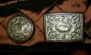 Set-2 146 An Italy Sterling Silver Wood Trinket Vanity Jewelry Rect Round Boxes