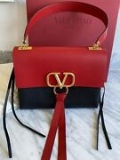 Nwt Valentino V-ring Red And Black Color Block Bag With Gold Hardware Medium 3295