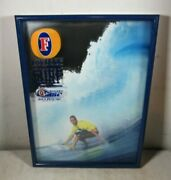 Vintage 1998 Fosterand039s Beer Asp Surfing 3-d Shadowbox Mirror Kelly Slater