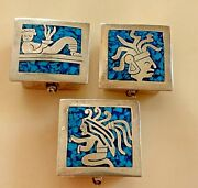 Vintage Sterling Silver And Enamel Set Of 3 Collectible Decorative Boxes 84,7 Gr.