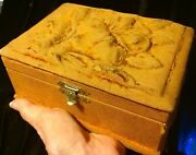 Antique 1888 Wood Carved Fabric Covered Sewing Box + Chinese Bone Hooks And Extras