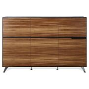 Unique Furniture 6-door Lacquered Engineered Wood Cabinet In Zebrano And Black
