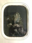 Full Plate Hand Tinted Tintype Photo In Frame Antique