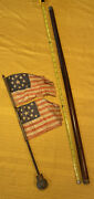 Antique Walking Cane With Qty 2 13 Star Us Flag Parade 6andrdquox8andrdquo From 1800andrsquos School