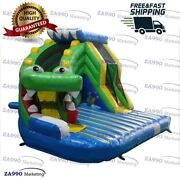 13x11.5ft Inflatable Crocodile Bounce House And Slide Castle With Air Blower