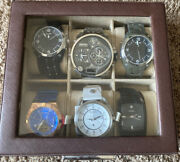 6 Watch Valet Vince Camuto Fossil Diesel With Oem Watch Boxes