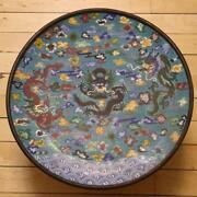 Chinese Enamel Lucky Old Copper Bronze Cloisonne Dragon Tray Compote Dish Plate