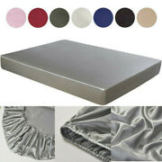Satin Silk Mattress Bed Protector Topper Fitted Cover Double King Size Washable