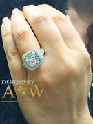 Heavy And Solid 14k White Gold Asscher Cut Forever One Moissanite And Diamonds B