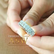 Large 5.0x3.0mm 14k Solid White Gold Emerald Cut Moissanite Eternity Band Deco