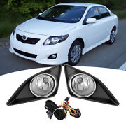 For 2009-2010 Toyota Corolla Clear Fog Lights Lampsandchrome Trim Cover W/harness