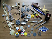Great Junk Drawer Grouping - Jewelry Pinbacks Sterling Silver Coins And Much More