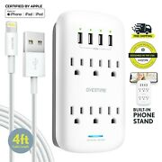 Overtime Outlet Shelf 10 Port Surge Protector Wall Mount W/ Mfi Lightning Cable