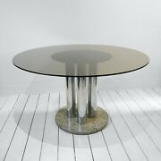Zanotta Chrome Marble Round Glass Dining Table Hollywood Regency Retro 70s Space