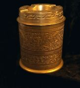 Anglo India Beautiful Finely Etched Brass Lidded Ashtray