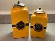 Pier 1 Rustic Mustard Gold Brass Rooster Canisters With Wood Lid