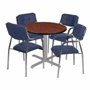 Regency Via 30 Round X-base Table- Cherry/grey And 4 Uptown Side Chairs- Navy