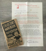 Stamp Collectors Handbook 34th Edition 1950 Elmer R Long Harrisburg Pa And Letter