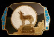 Vintage Johnson And Held Wolf Moon Howling Inlay Western Belt Buckle Southwestern