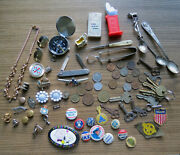Interesting Junk Drawer Lot - Pinbacks Coins Keys Jewelry Spoons And Much More