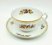 Noritake Vtg Cup Saucer China Occupied Japan Gold Accents Rose Floral Transfer