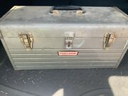 Vintage Sears Craftsman Metal Toolbox 6512 Gray W/parts Tray Compartment Insert