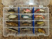 Twelve Used Vintage Plastic Fishing Lures With Tackle Box Lure Collection Lot 5
