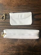 Vintage Mark Cross White Leather Pen Pencil Case And Card Case Key Ring Wallet