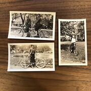 Lot Of 3 - 1920s Antique Photograph Of Women Tandem Bicycle - Bikes Cycles City