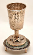 Large Antique Kiddush Wine Cup Roman Glass Sterling Silver 925