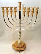 Authentic Temple Menorah Hanukkah Gold And Silver Plated Candle Holder