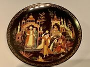 Palekh Russian Lacquer Miniature Collectorandrsquos Plate Fountain Of Bakhchisarai
