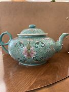 Antique Asian Chinese Teapot Set Very Beautiful Turquoise Teapot With Eight Cups