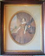 Antique Civil War Period Full Length Watercolor Of Southern Belle Framed 20x24