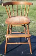 """Vintage Wooden High Chair Youth Chair Toddler Booster 30 3/4"""" High Doll Display"""