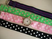 Women Set Of 4 Ribbons/silver Finish Watch Face For Beadingribbon Or Other Use