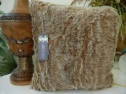 Nwt Jennifer Lopez Luxury Home Collection Brown Faux Fur Throw Pillow 18 X 18