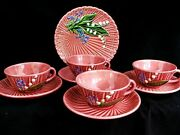 Majolica Snack Set 4 Cups And Saucers 1 Plate Schramberg German C.1900