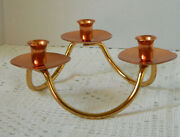 Coppercraft Guild 3 Cup Candlestick Holder Copper And Brass Made In Usa 2 3/4 H