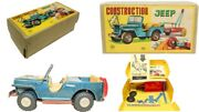 Vintage Japanese Tin Friction Construction Jeep With Original Box