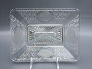 Antique Adams And Co. Clear Pressed Glass Daisy And Button Bread Tray C.1886
