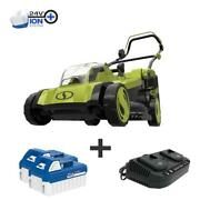 Cordless Electric Walk Behind Push Lawn Mower Kit With 2 Battery Charger 48 Volt