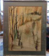 American School Abstract Watercolor Signed Ronald Brown 34 3/4 X 27 1/2 Inches