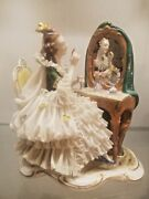 Beautiful Dresden Figurine Of Lady In Front Of Mirror