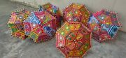 15 Pcs Lot Indian Cotton Fabric Mirror Work Vintage Parasol Handmade Embroidery