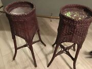 Beautiful Pair Of Painted Antique Wicker Planters From Early 1900's.