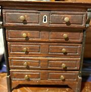 Antique 12andrdquo French Poupee Bebe 5 Drawer Wooden Cupboard Doll Accessory
